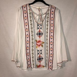 Andree Embroidered Floral Peasant Blouse Size 1X